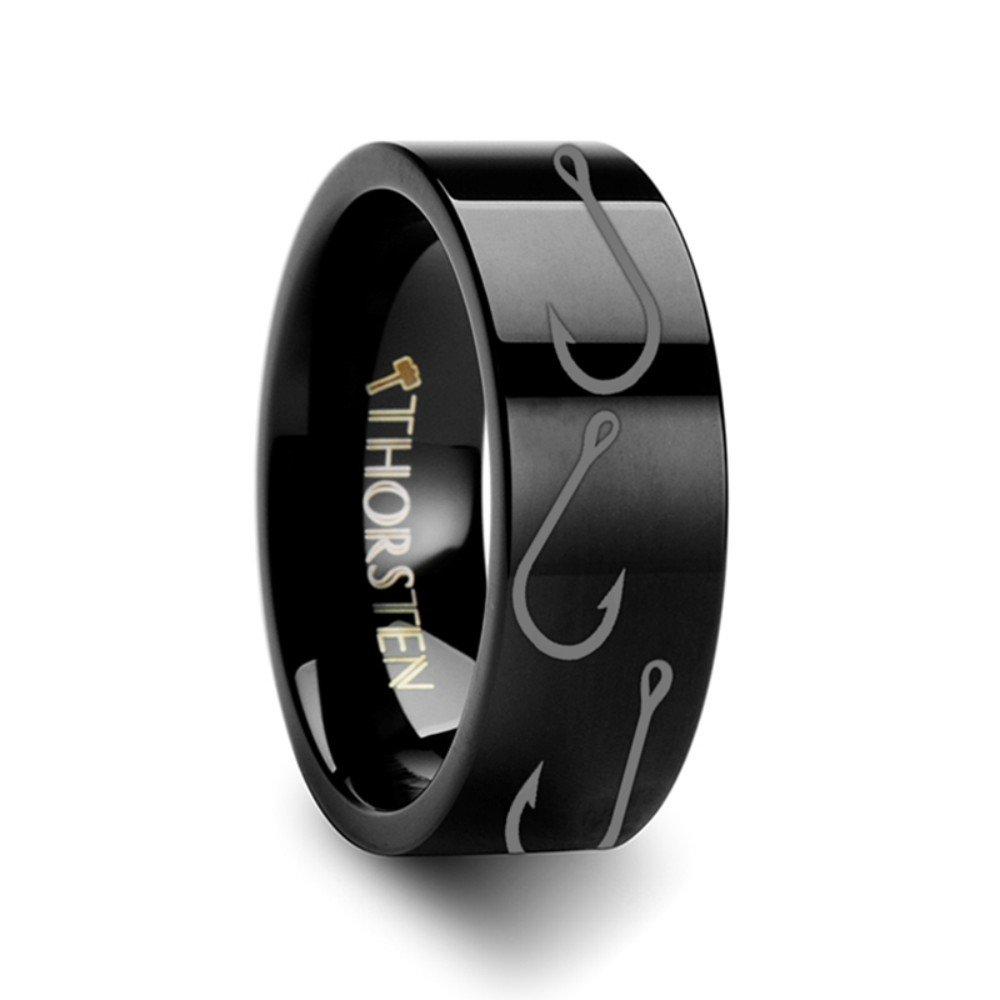Thorsten Fish Hook Design Sport Fishing Print Pattern Flat Black Tungsten Ring 10mm Wide Wedding Band from Roy Rose Jewelry