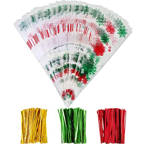 (Boao 100 Pieces Christmas Cone Bags Snowflake Treat Bags Goodies Clear Cellophane Bags with 150 Pieces Twist Ties for Christmas Candy Cookie Storage, 6.4 x 15.2 Inches)