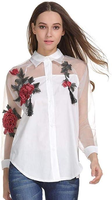 Camisas Mujer Primavera Moda Splice Blusa Gasa Elegante ...