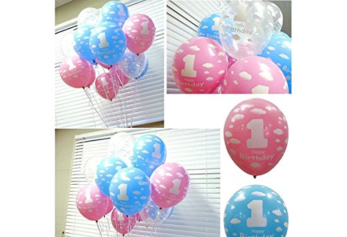 20pcs Printed Ballons First Birthday Party Decor (Blue) - 6