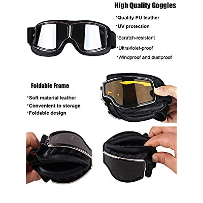 TYSKL Retro Pilot Motorcycle Goggles Fog-proof Warm Riding Goggles ATV Bike Motocross Glasses Protective Eyewear(A-black/Silver Mirrored Lens): Automotive