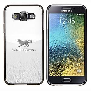 Caucho caso de Shell duro de la cubierta de accesorios de protección BY RAYDREAMMM - Samsung Galaxy E5 E500 - Winter Is Coming Stark