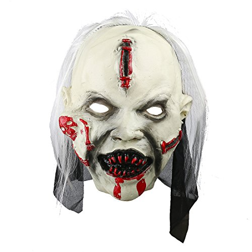 YUFENG Scary Bloody Zombie Mask Costume Accessory with Hair