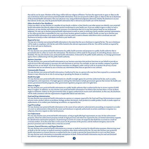 ComplyRight HIPAA Notice of Privacy Practices Form 100PK