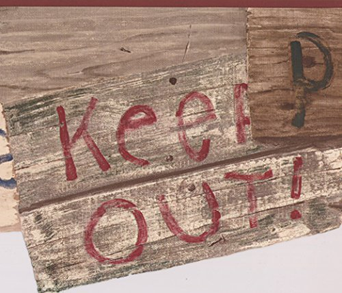 Brown Beige Keep Out Private Clubhouse Signs Wallpaper Border for Kids Teens, Roll 15' x 9'' (Roll Sign Border)