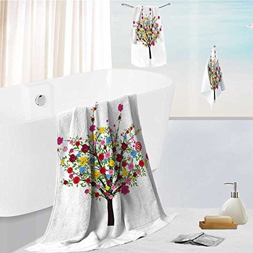 Family Big Bath Towel Set Abstract Colorful Tree with Flower Rose. Vector Illustration for Your Design Printing Print Bath Towel Super Absorbent Body Wrap Pool Towel