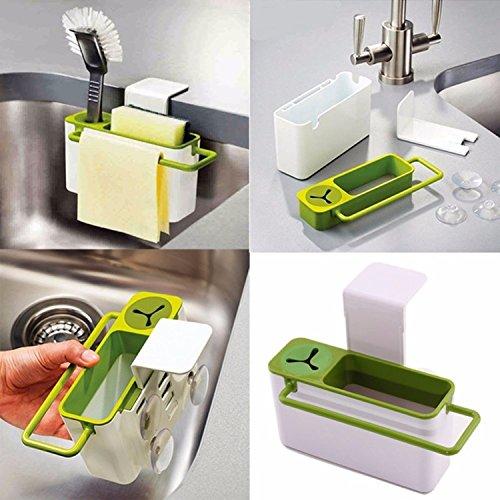 Fácil Cocina Base de succión de cepillo para polvo esponja fregadero drenaje Herramienta de limpieza de soporte de...