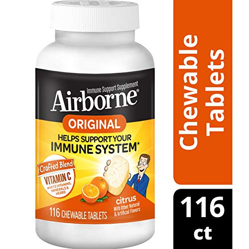Vitamin C 1000mg - Airborne Citrus Chewable Tablets (116 count in a bottle), Gluten-Free Immune Support Supplement and High in Antioxidants, Packaging May Vary