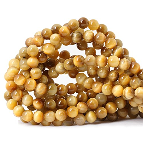 (Qiwan 45PCS 8mm Golden Tiger Eye Gemstone Loose Beads Natural Round Crystal Energy Stone Healing Power for Jewelry Making 1 strand 15
