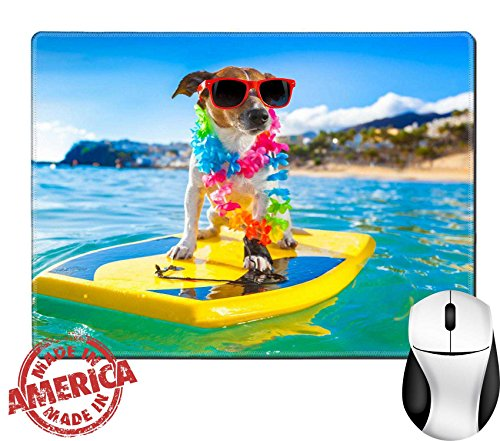 """Luxlady Natural Rubber Mouse Pad/Mat with Stitched Edges 9.8"""" x 7.9"""" IMAGE ID: 32316433 dog surfing on a surfboard wearing a flower chain and sunglasses at the ocean - Different Boards Surf Of Types"""