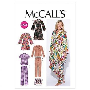McCalls Schnittmuster 6659 Damen Schlafanzug Größen 34-46: Amazon.de ...