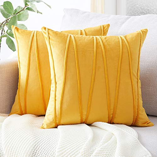 Top Finel Decorative Hand-Made Throw Pillow Covers Soft Particles Velvet Solid Cushion Covers 20 X 20 for Couch Bedroom Car, Pack of 2, Mustard Yellow