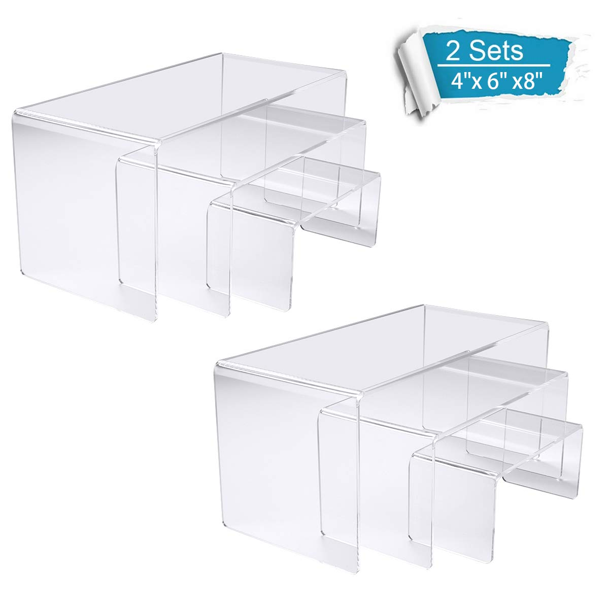 NIUBEE Acrylic Display Risers Stand 2 Sets,3 Steps Clear Riser Shelf Showcase for Amiibo Funko POP Figures -8.4''x6.3''x4.3'' by NIUBEE
