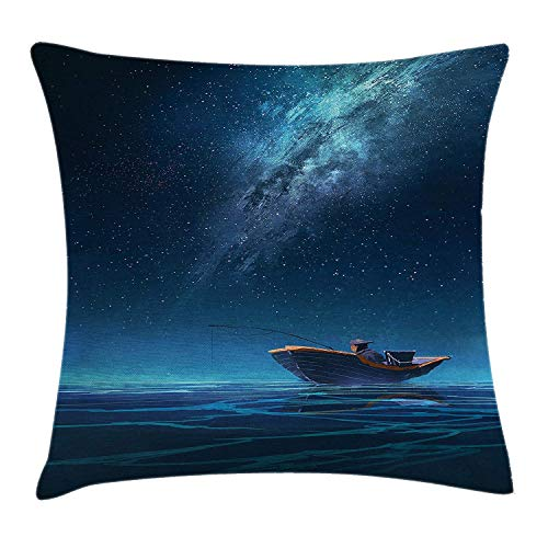 Fantasy Art House Decor Throw Pillow Cushion Cover by, Fisherman in Boat at Night with Milky Way Nebula Space Star Ocean, Decorative Square Accent Pillow Case, 18 X 18 Inches, Navy Blue ()