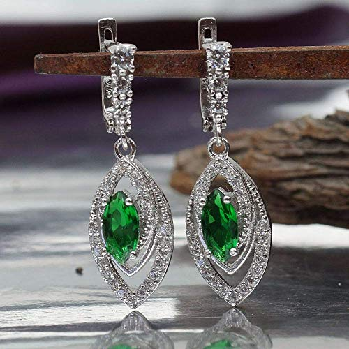 - Turkish Sterling Silver Victorian Jewelry Chrome Diopside Marquise Earrings