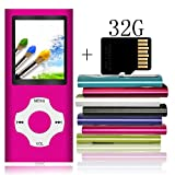 Tomameri - Portable MP3 / MP4 Player with Rhombic Button, Including a Micro SD Card and Support Up to 64GB, Compact Music, Video Player, Photo Viewer Supported - Pink