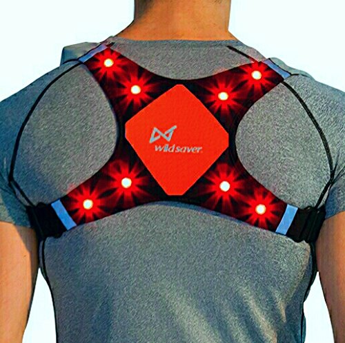 WildSaver LED & Reflective USB Rechargeable Lightweight Lycra & Mesh Vest w/2 Pockets for Night Running, Biking, Cycling, Walking. High Visibility Safety for Men, Women,Kids. (Orange, Medium) (Mesh Running Vest)