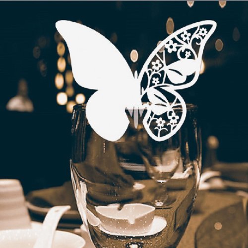 Butterfly Shape with flowers Place / Name Card, 8*8cm, for Wedding & Party - Pearl White
