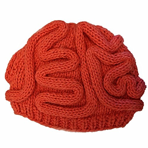 BIBITIME Unisex Handmade Knitted Brain Beanie Cap Halloween Hat Christmas Gift (Made to fit average adult, Red)