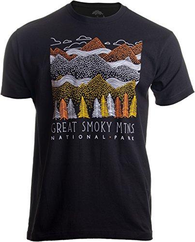 Great Smoky Mountains National Park | Smokie Poster Decal Art Men Women T-Shirt-(Adult,XL) Black