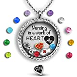 Nurse Gifts For Women - Nurse Jewelry | Floating Charm Necklace Filled With Nurse Charms | Nurse Graduation Gift Nurse Necklace | Rn Nurse Gifts | 30mm Charm Locket | Nurse Gift Nurse Charm Necklace