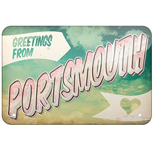 FMLK Metal Sign Greetings from Portsmouth, Vintage Postcard TIN Sign 7.8inch×11.8inch
