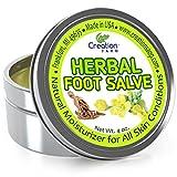 Best Foot Care Herbal Salve - Large 4 Oz Tin of Botanical Foot Balm - Mejor cuidado de los pies Herbal Salve from Creation Farm