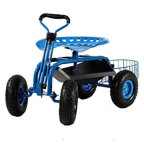 - Sunnydaze Garden Cart Rolling Scooter with Extendable Steer Handle, Swivel Seat & Utility Tool Tray, Blue