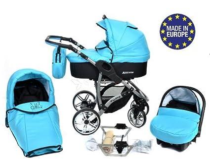 Allivio - Sistema de viaje 3 en 1, silla de paseo, carrito con capazo y silla de coche, RUEDAS GIRATORIAS y accesorios (Sistema de viaje 3 en 1, azul ...
