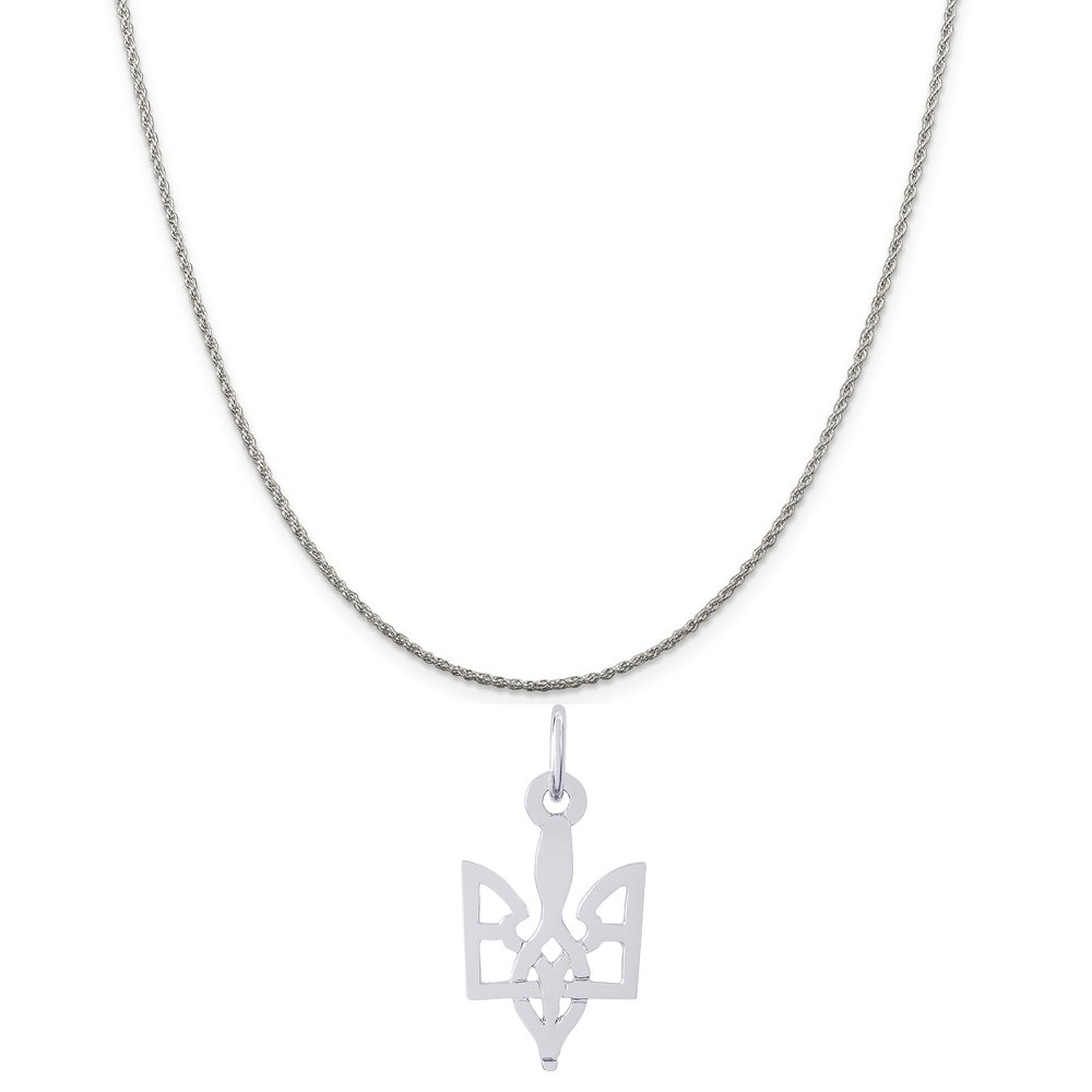 Rembrandt Charms Sterling Silver Ukrainian Trident Charm on a Rope Chain Necklace, 16''