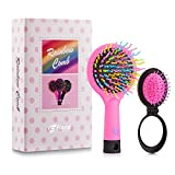 Detangling Hair Brush, Flend 2-Pack Rainbow Comb, Detangler Hair Brush for Adults & Kids, Pink