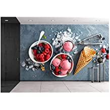 wall26 - Raspberry Ice Cream in White Bowl Overhead Shot - Removable Wall Mural | Self-adhesive Large Wallpaper - 66x96 inches