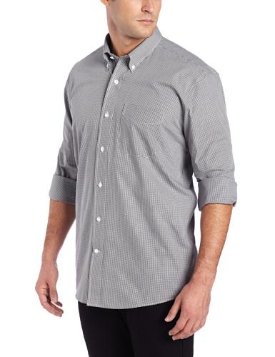 & Cutter Shirt Cotton Dress Buck (Cutter & Buck Men's Long Sleeve Epic Easy Care Gingham Shirt, Charcoal, X-Large)