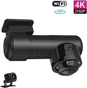 podofo Dual Dash Cam 1080P Full HD Front and Rear Camera for Car with 360°Wide Vision Car Driving Recorder Support WiFi, Sony Sensor, Voice Control, IR Night Vision, G Sensor, 24hr Parking Mode, Loop