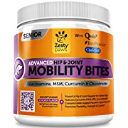 #LightningDeal Zesty Paws Senior Advanced Glucosamine for Dogs - for Hip & Joint Arthritis Pain Relief - Chondroitin, Turmeric Curcumin & MSM - Mobility Supplement with Green Lipped Mussel & Hyaluronic Acid