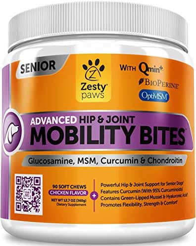 Senior Advanced Glucosamine for Dogs - For Hip & Joint Arthritis Pain Relief - Chondroitin, Turmeric Curcumin & MSM - Mobility Supplement with Green Lipped Mussel & Hyaluronic Acid - 90 Chew Treats