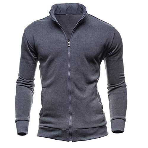 Fashion's Casual Men's Zipper Solid Leisure Sports Cardigan Sweatshirts Tops Jacket Coat