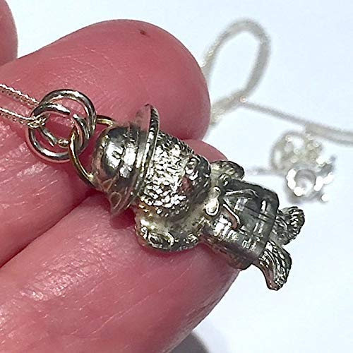 Teddy Bear Necklace Silver Bear Necklace Pendant 999 Fine Silver Paddington bear pendant UK Handmade jewellery bear jewelry for women for her