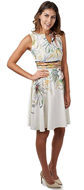 Joseph Ribkoff White & Multicoloured Floral Flared Dress Style 171659 at Amazon Womens Clothing store: