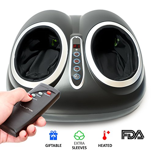 Lunix Shiatsu Foot Massager Machine with Deep Kneading - Electric Foot Spa with Heat and Massage for Plantar Fasciitis, Neuropathy and Pain Relief - BONUS Remote Control + Extra Sleeves - PERFECT GIFT