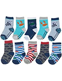 Baby Boy Transportation, Stripes, Heel/Toe Accents Crew 10-Pack