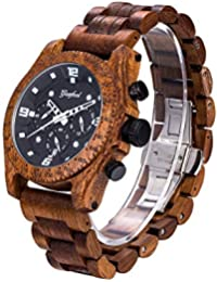 Men`s Wooden Watch, Natural Red Sandalwood with Quartz...