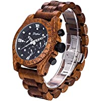 [Patrocinado] Relojes de madera para hombre, 3 ATM, resistente al agua, movimiento Pe902, carcasa de sándalo rojo y correa de sándalo rojo GFL-WD-016