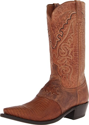 Mad Dog Lizard - Lucchese Mens Since 1883 Western Boots Old Nugget Lizard Saddle/Peanut Brittle Mad Dog Goat (15 EE) Gold