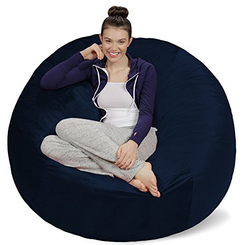Sofa Sack - Plush Ultra Soft Bean Bags Chairs for Kids, Teens, Adults - Memory Foam Beanless Bag Chair with Microsuede Cover - Foam Filled Furniture for Dorm Room - (Navy Bean Bag Chair)