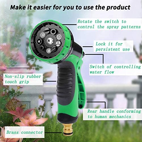 LZW Flexible Hose, Garden Hose 100 Ft,Made of ABS Material, 10 Nozzle Modes,Suitable for Watering Flowers, Spraying Water, Washing Cars, Etc.