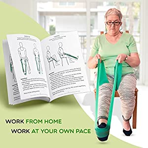 Rehab Bands Exercise Equipment for Elderly - Physical Therapy Band with Handles for Legs and Arms - Exercise Program for Sitting on Chair - Perfect Gift for Seniors Women and Men by Healthy Seniors from Turavura