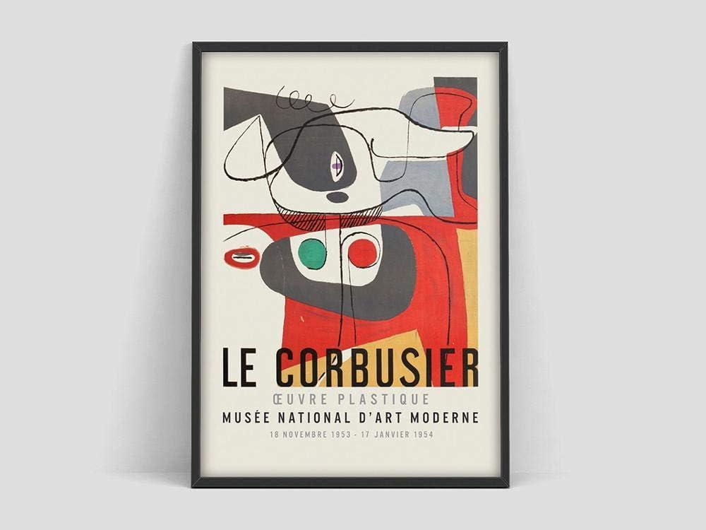 Póster de la exposición de arte Le Corbusier, Musée National d'Art Moderne, 1954, arte abstracto francés, lienzo sin marco de 50 x 75 cm de ancho