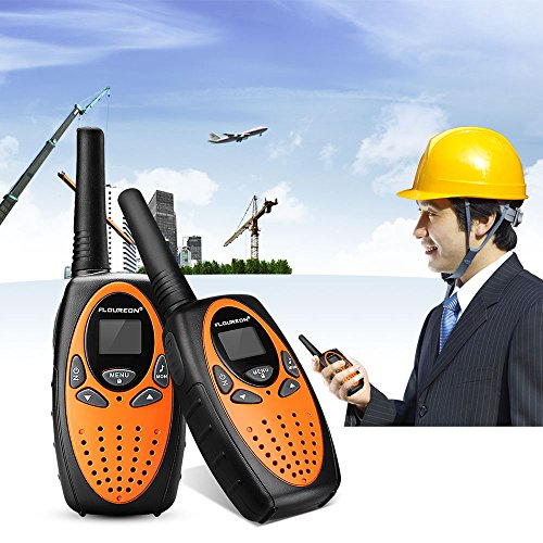 Floureon 22 Channel FRS/GMRS 2 Way Radio 2 Miles (Up to 3 Miles) UHF Handheld Walkie Talkie (Pack of 4, Black Orange)