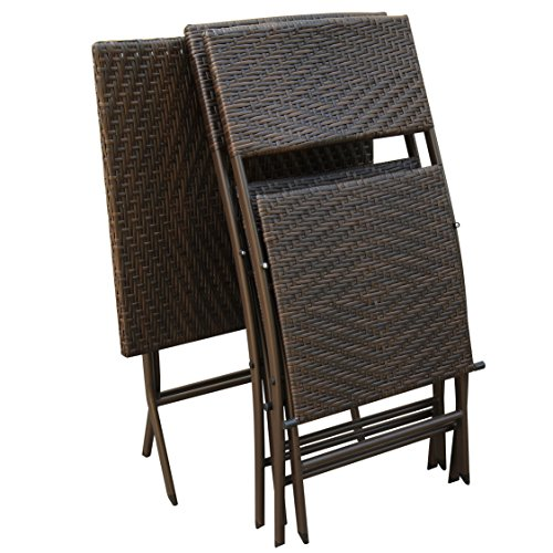 Rattan Coffee Table Dubai: PATIOROMA 3 PCS Outdoor Wicker Rattan Steel Folding Table